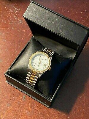 Akribos XXIV Men's Classic Diamond Stainless Steel Two Tone Wrist Watch in Box