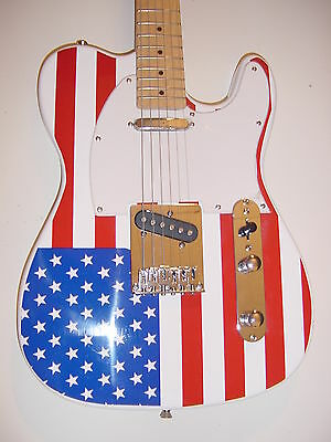 American US Flag T Style 6 String  Electric Guitar Maple Fret Board with Gig Bag