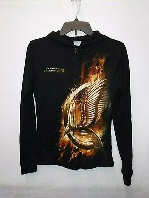 Hunger Games Woman (JUNIORS WOMENS HUNGER GAMES CATCHING FIRE BLACK ZIP FRONT HOODIE NEW)