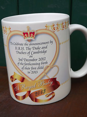 William & Kate Royal baby mug for announcement of royal birth in 2013