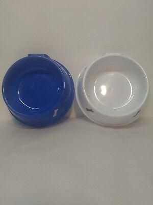 two dog/cat bowls plastic round blue white