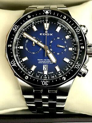 Edox 10109-3M-BUIN Champion Delfin Stainless Chrono Men's Quartz Watch WARRANTY