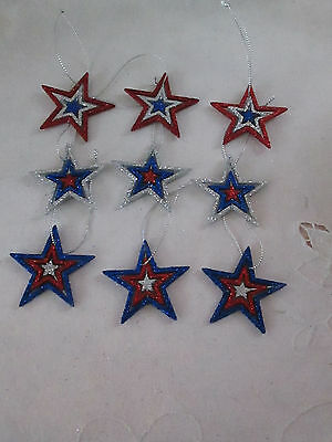 "9 - 2"" Patriotic Red, Silver & Blue Glitter Spinner Star Ornaments,  4th of July"