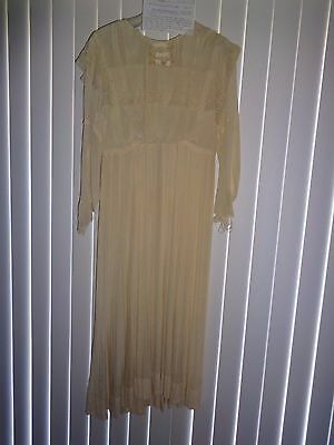 Antique 1900's Wedding Dress Beige Chiffon w/ Pleated Skirt As Is
