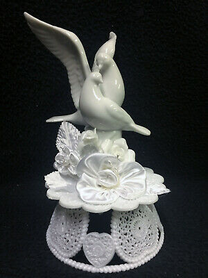 Romantic Doves bird wedding Cake Topper Groom top Engagement, shower Anniversary