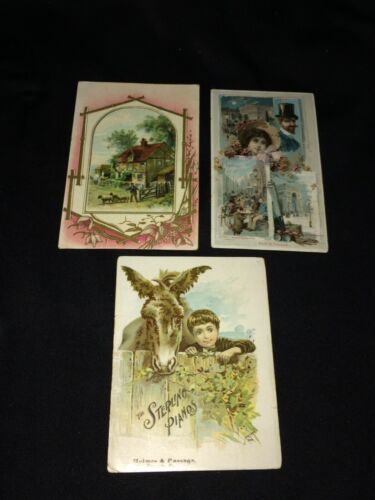 Lot of 3 Antique Victorian Trade Cards~Arbuckle, Sancuta Coffee, Sterling Pianos