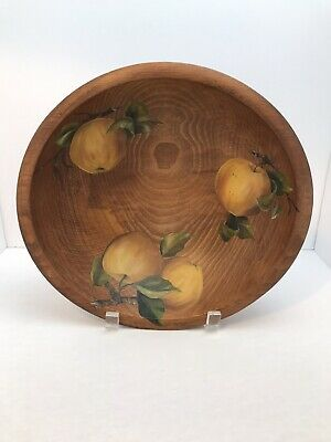 Woodcroftery hand painted handle wooden fruit bowl Mid century  hand painted floral pattern handle wooden fruit bowl