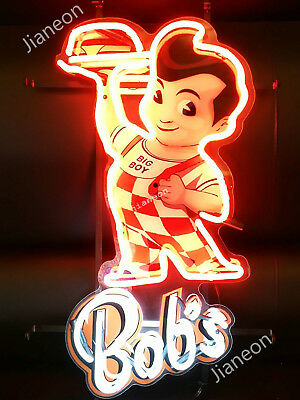 New Bobs Big Boy Hamburgers Restaurant Advertise Real Neon Sign Beer Bar Light