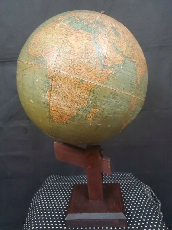 EARLY 20TH C. ANTIQUE NEW PEERLESS 12 INCH GLOBE BY ATLAS SCHOOL SUPPLY