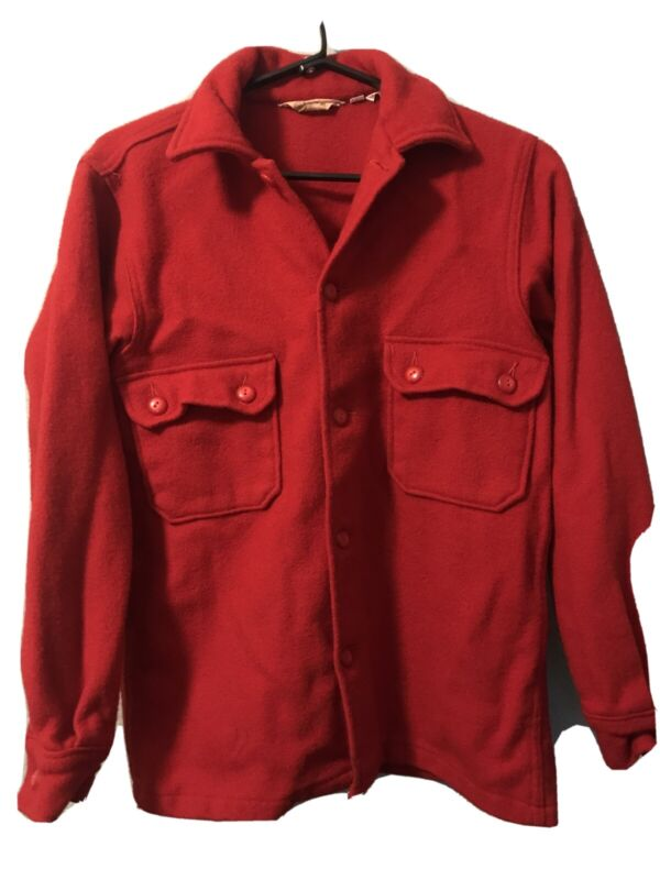 Vintage Official Boy Scouts Of America Red Wool Jacket Shirt Size 38