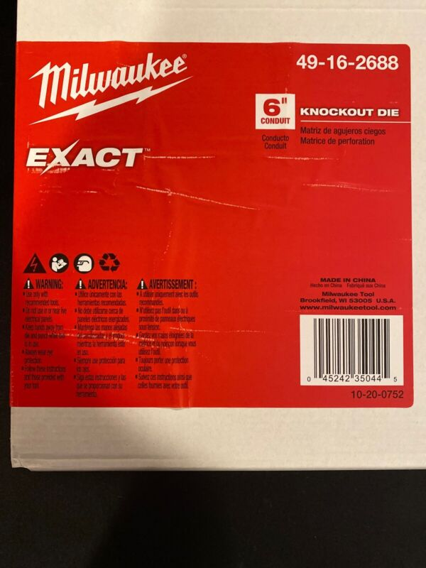 """Milwaukee 49-16-2688 6"""" Conduit Knockout Die New In Box"""