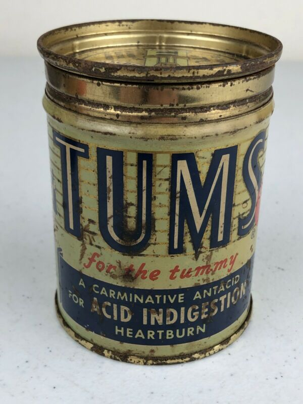 Vintage Tums Medicine Heartburn Advertising Tin Can