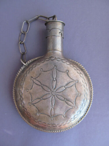 RARE ANTIQUE Old Pawn Navajo Handmade Hand TOOLED CONCHO Sterling Flask Canteen