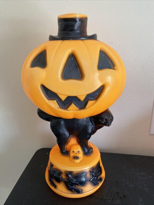 Empire Tabletop Blowmold Pumpkin Black Cat Skull Witches Black Top Hat