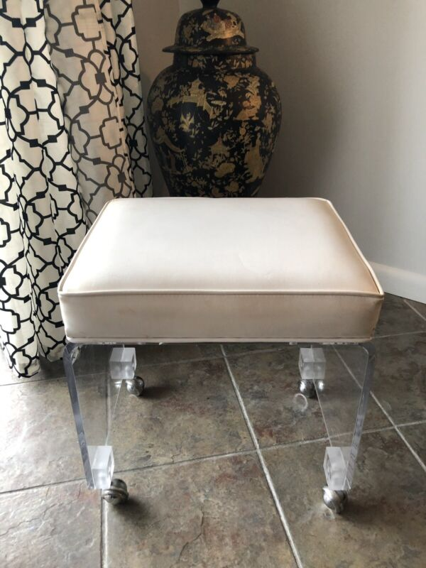 Vintage Mid Century Lucite Scroll Vanity Stool On Wheels CLEAN Must SEE !!!