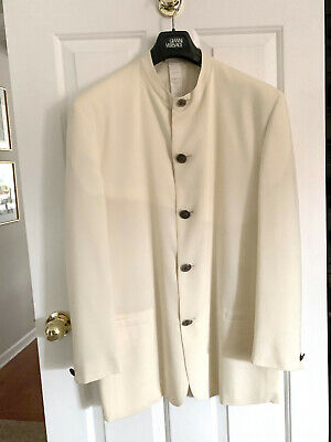 VINTAGE GIANNI VERSACE  MAN JACKET NEHRU COLLAR 1995 WHITE