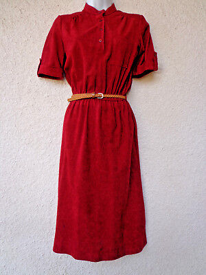 Vintage 1970s Terry Cloth DRESS Short Sleeves Modest Cut Buttons Rust Preppy S M