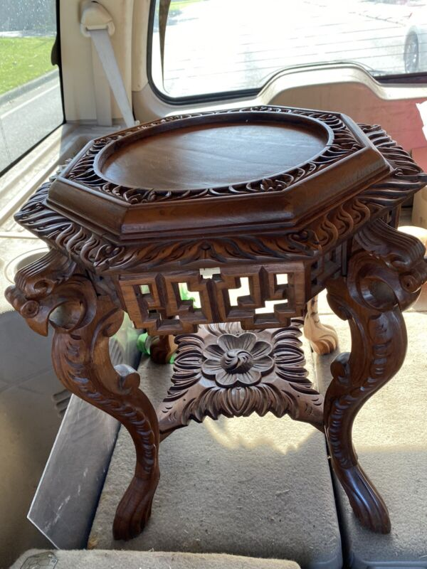 """Rare Vintage Chinese Hand Carved Wooden Table 24x24"""""""