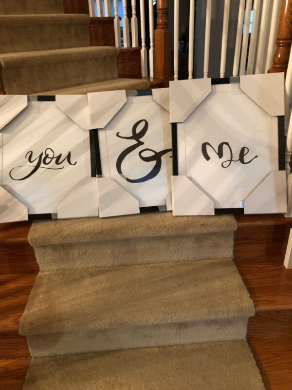 """pottery barn brand new You & Me Triptych Prints Set of 3 Each 17.25"""" wide x 21"""""""