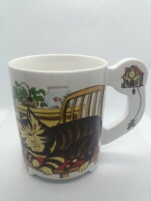 Vintage Footed Cat Mug Japan Cuckoo Clock Flat Handle Sleeping Dreaming Cat