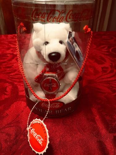 COCA-COLA 1999 Silver Edition Polar Bear with Santa Watch by Cavanagh NIP