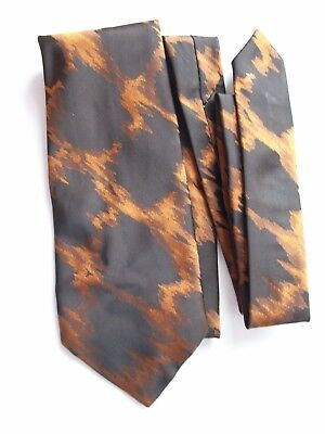 BROWN & ORANGE ABSTRACT POLYESTER VINTAGE TIE **GC**