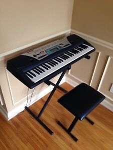 Yamaha digital piano keyboard with stand, bench, adapter