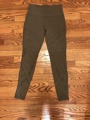 "Lululemon High Waist Mesh Olive Green Leggings Pants Luxtreme - Size 8 / 27"""