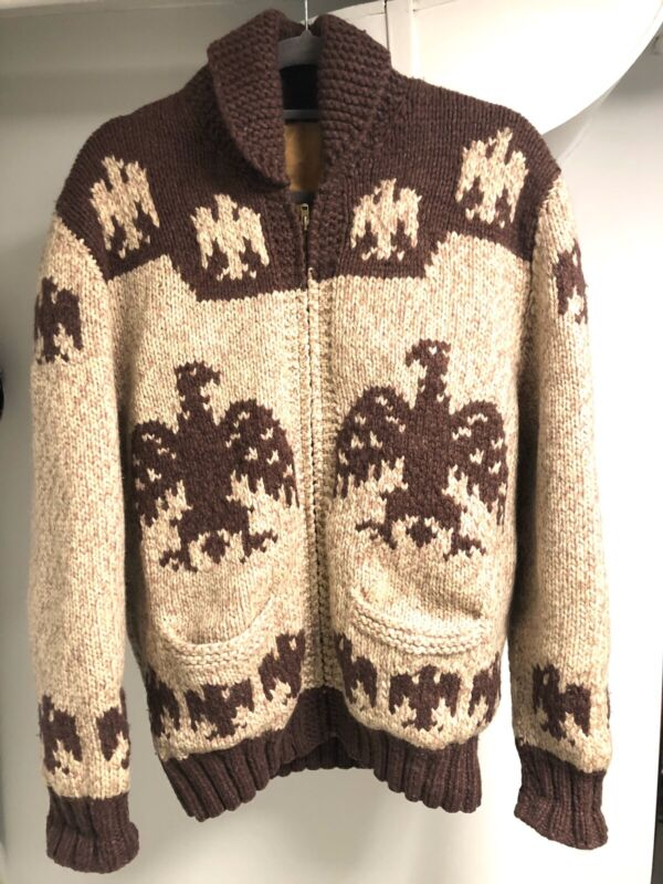 Vintage 1950's Cowichan Curling Thunderbird Sweater!!!