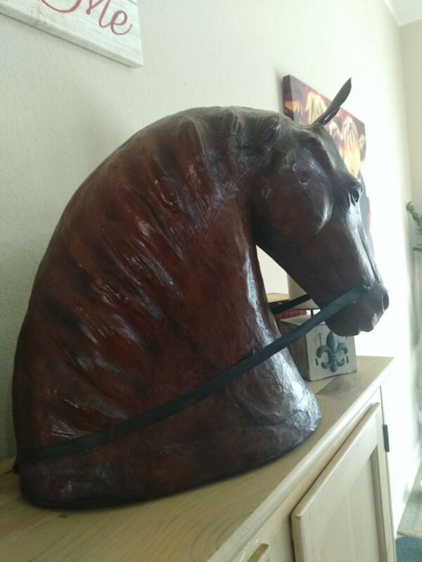 RARE Large Primitive Morgan Draft HORSE Wood Carved Folk Art Sculpture Signed