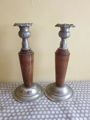 Matching Pair Of Art Deco Wood & Silver Metal Candlesticks