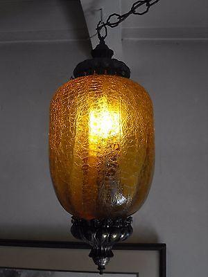 Vintage Mid-Century Amber Crinkle Glass Hanging Light Lamp Fixture