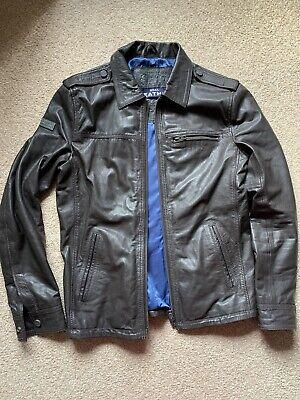 SUPERDRY Leather Jacket Hero Vintage Biker Size Large Great Condition Brown