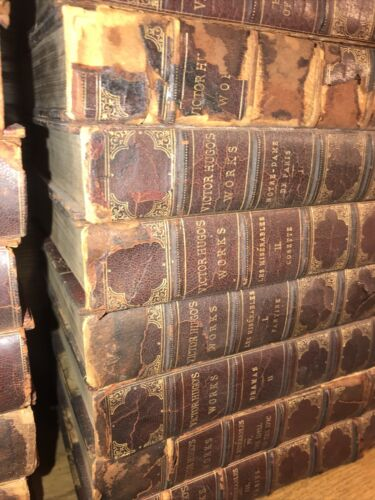 LEATHER Set Works VICTOR HUGO Complete 30 Vol Rustic ALL COVERS ARE DETACHED  - $700.00
