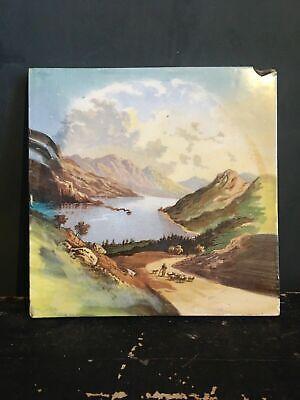 Victorian Hand Painted Tile Landscape River Pastoral Scene Made In England 1900