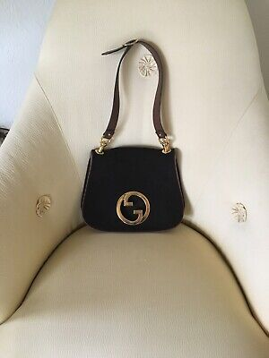 Auth GUCCI Vintage suede Interlocking Logos Leather Shoulder Bag Italy