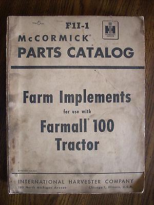 Ih Farmall Mccormick 100 Fast Hitch Farm Implements Parts Manual