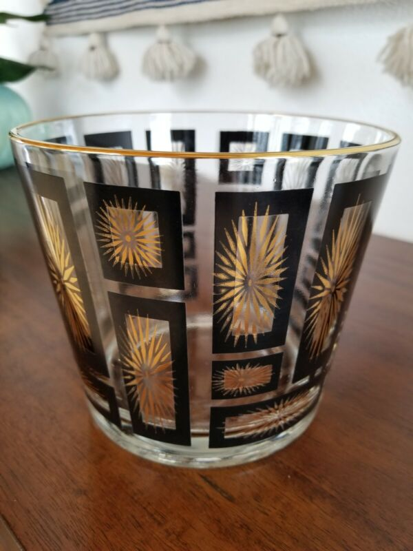 VTG/Mid-Century Modern/MCM GOLD ATOMIC STARBURST + Black Frames GLASS ICE BUCKET