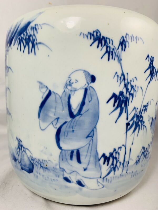 "8"" Antique Japanese scholars Arita Blue White Large Planter Pot Bowl Jardiniere"