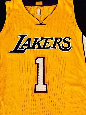 bfa41bf7c24 D Angelo Russell Los Angeles Lakers 15-16 Game Used Worn Rookie Home Jersey