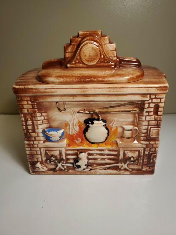 Vintage McCoy Old School Fireplace Heavy Cookie Jar