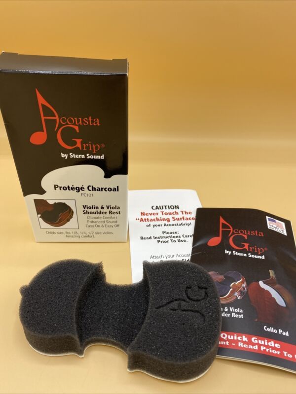 AcoustaGrip Protege Charcoal Violin Shoulder Rest Charcoal Viola Fit 1/8 1/4 1/3