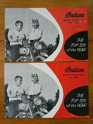 "Vintage 1959 Indian Motorcycle ""Top Ten of the Year"" Sales Brochure LOT OF 2!"