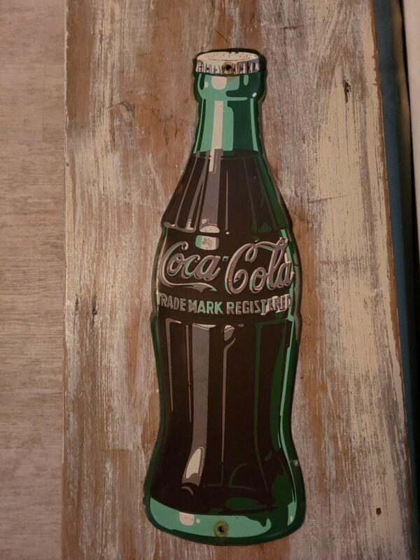 1940 COCA COLA TRADEMARK registered bottle tin sign.