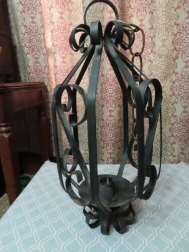Vintage Iron Metal Candle Holder Hanging Heavy Goth