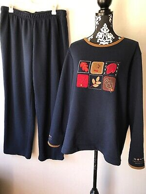 Bobbie Brooks XL Top and Pants Fleece Set Dark Blue Embroidered Autumn Leaves (Embroidered Fleece Pant Set)