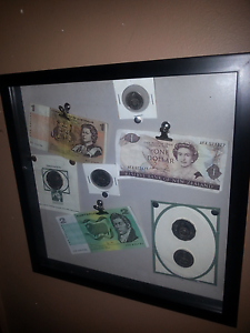 Auatralian notes and coins in frame collection Macleod Banyule Area Preview