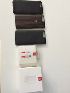Oneplus dash charger + Cable + 3 Cases
