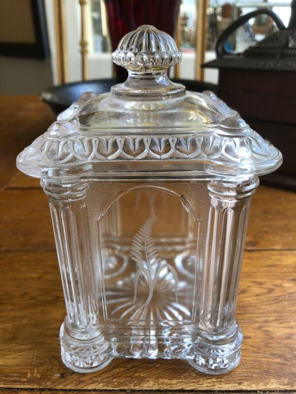 ANTIQUE VTG DRUG STORE APOTHECARY COLUMN ETCHED FERN DISPLAY SQUARE CANDY JAR