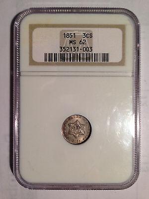 1851 NGC MS62 Three-Cent Silver 3CS